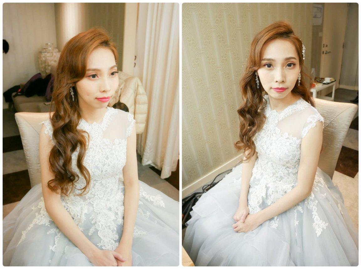 新娘髮型造型紀錄早妝晚宴三造型 幸福甜蜜妝感