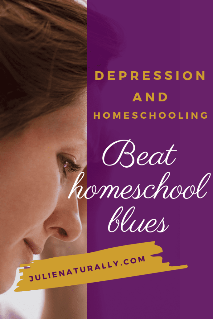 side of brown haired woman's face looking down with a frown showing her depression and homeschooling