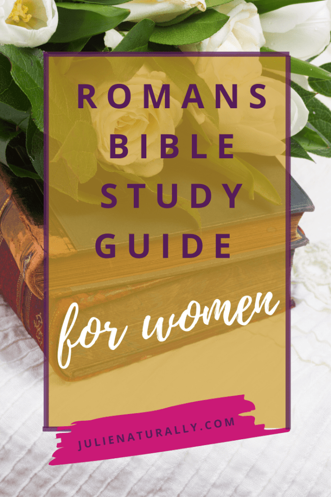 romans study guide for women stacked on top of each other topped with white flowers