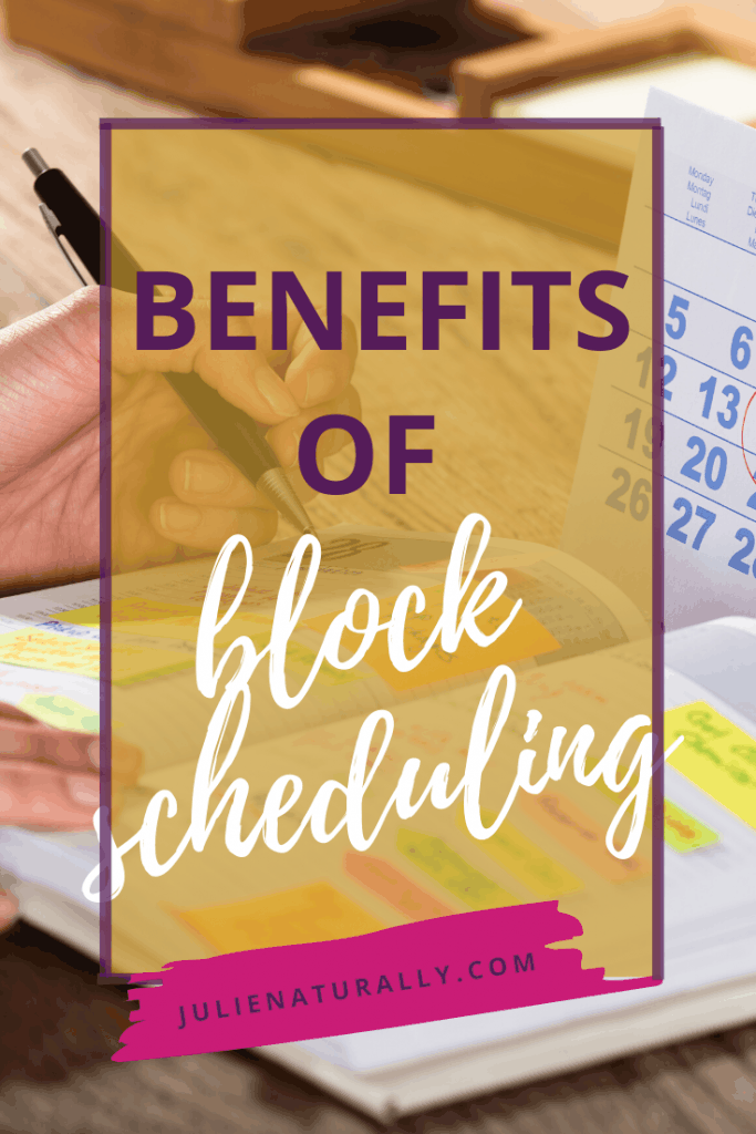 woman using a calendar and open planner to use the benefits of block scheduling