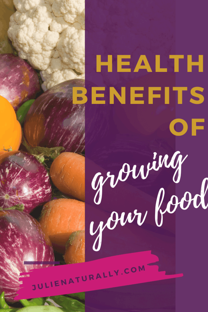 health benefits of growing your own food such as eggplants, carrots, tomatoes, peppers, and zucchinis