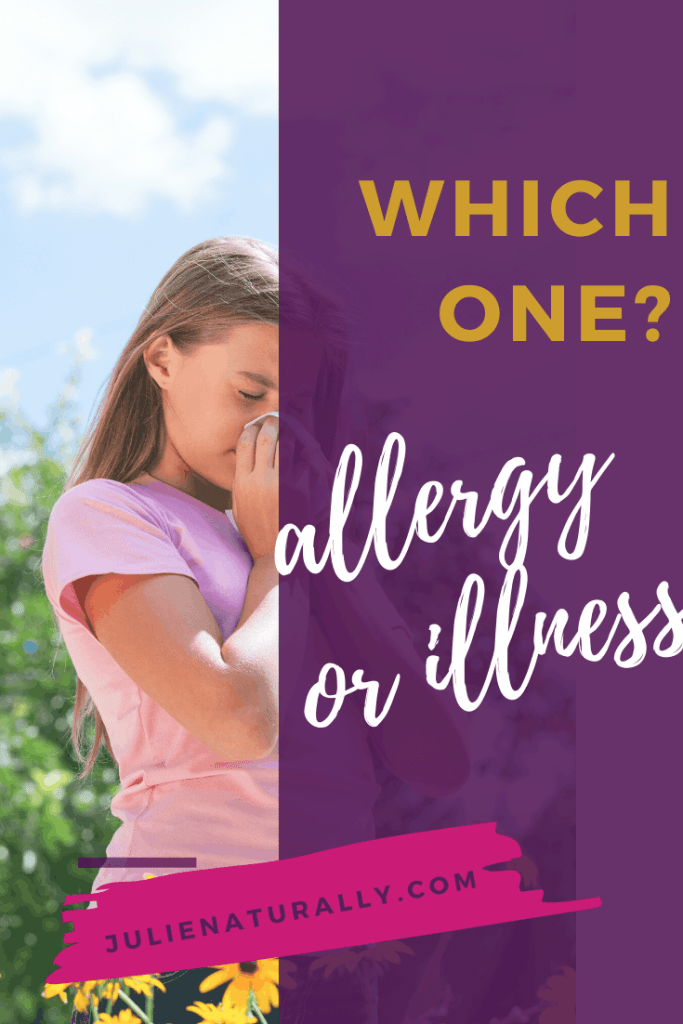a young girl outdoors sneezing because of allergies