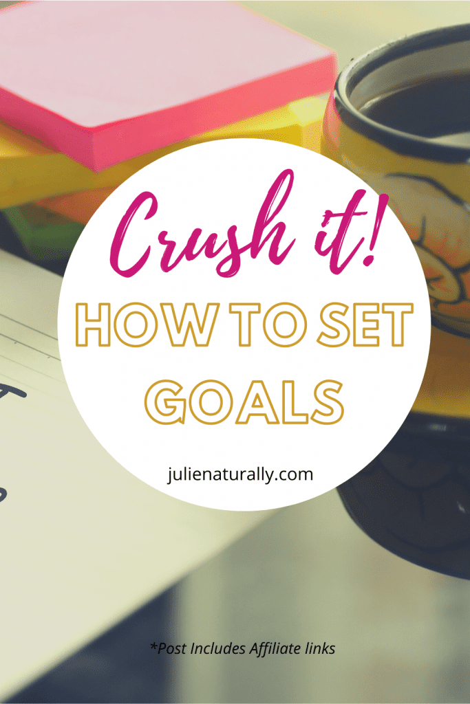how to set goals using color coded sticky notes, pad of paper, and a cup of coffee