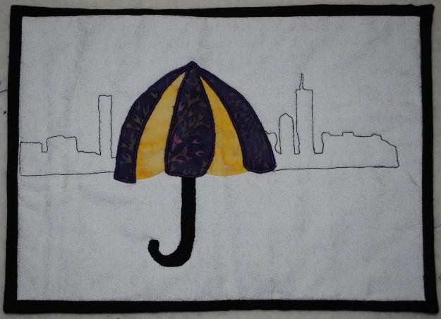 art quilt with Boston skyline