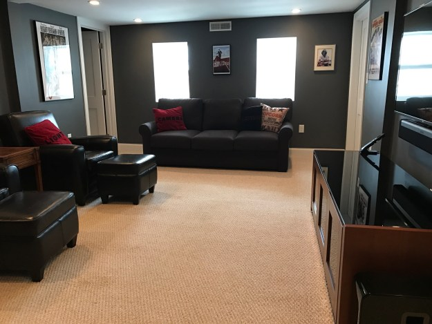 Media room with charcoal gray walls, movie posters