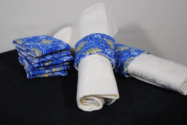 Julie Neu, blue and yellow floral cotton napkin rings