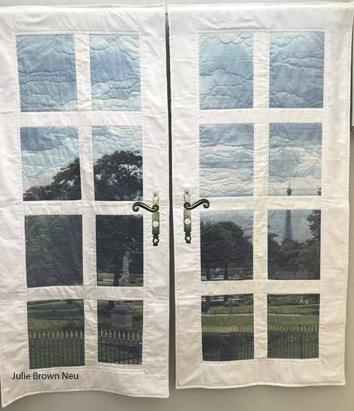 wall quilt with photos of Paris and white sashing