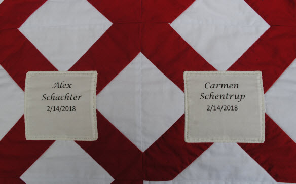 Detail of memorial quilt for victims of Parkland, FL shooting