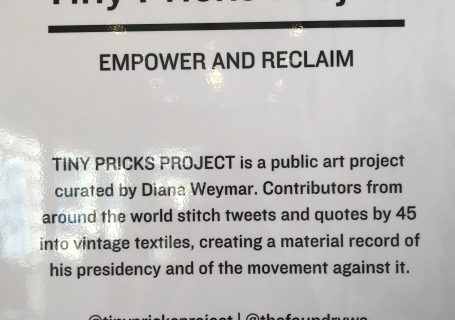 Tiny Pricks Project exhibit sign