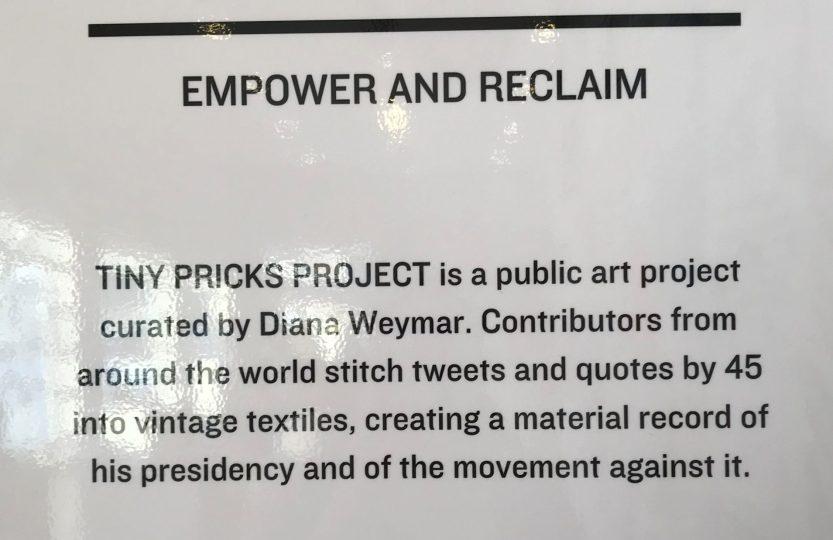 Tiny Pricks Project exhibit sign