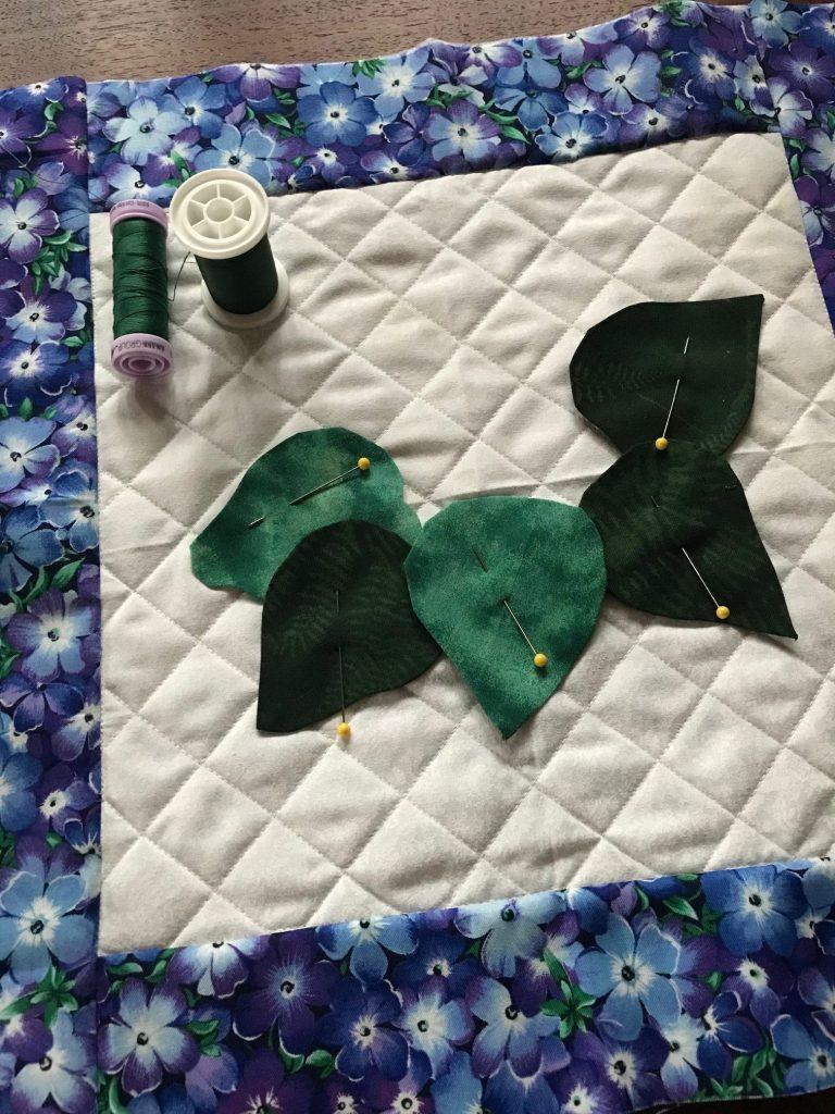 African Violet applique quilt block