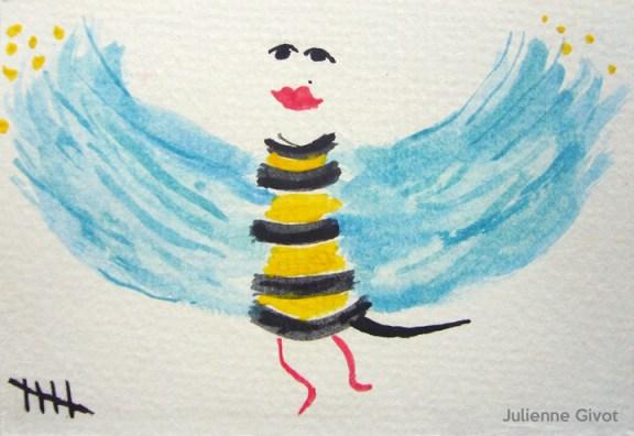 """Mrs. Bird Bee   5"""" x 3.5""""   watercolor on paper   2006"""
