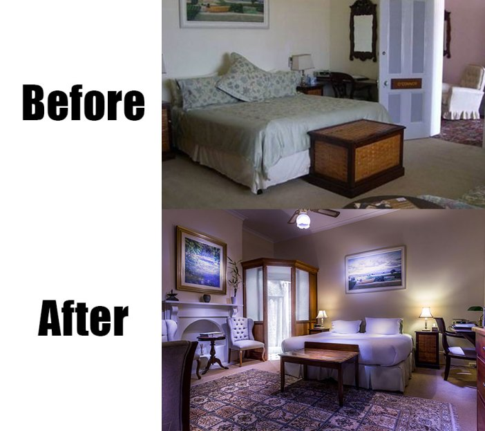 Real estate photography before and after-bed and breakfast