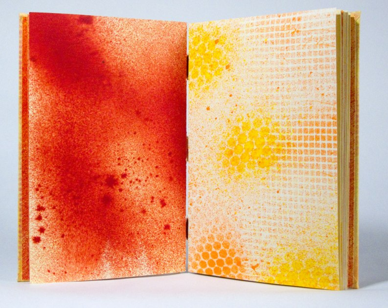 Warm Hues Sewn-Over-Tapes Book: All pages are monoprints/paintings.