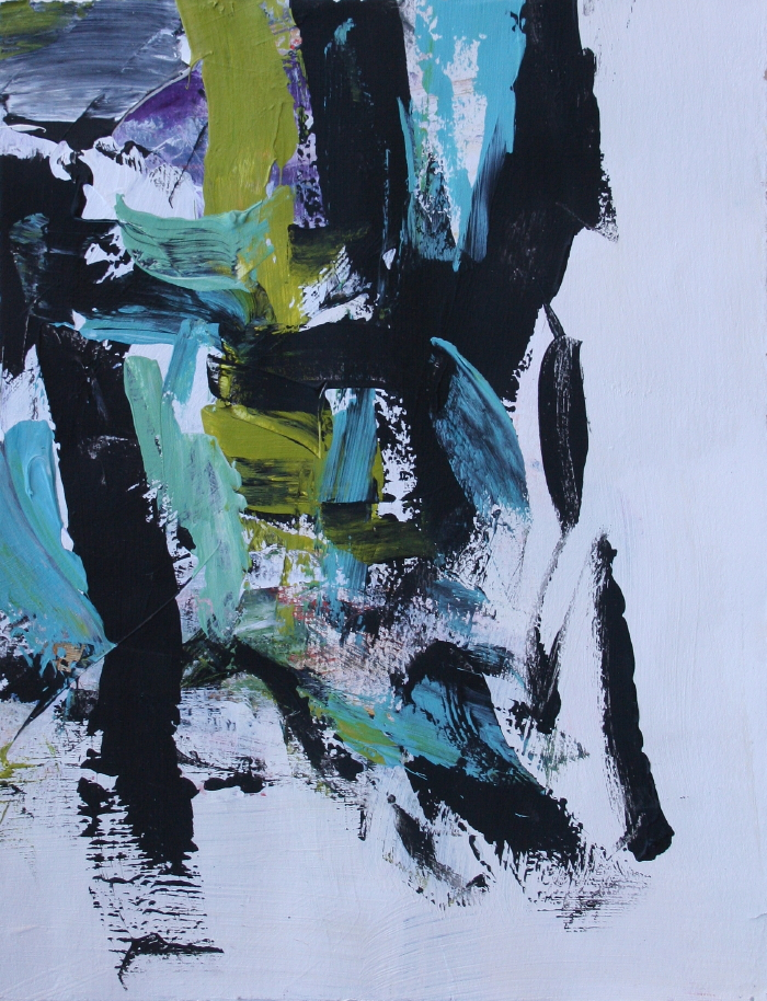 Julie Schumer Abstract Landscape Compositiion with Black and Teal 2