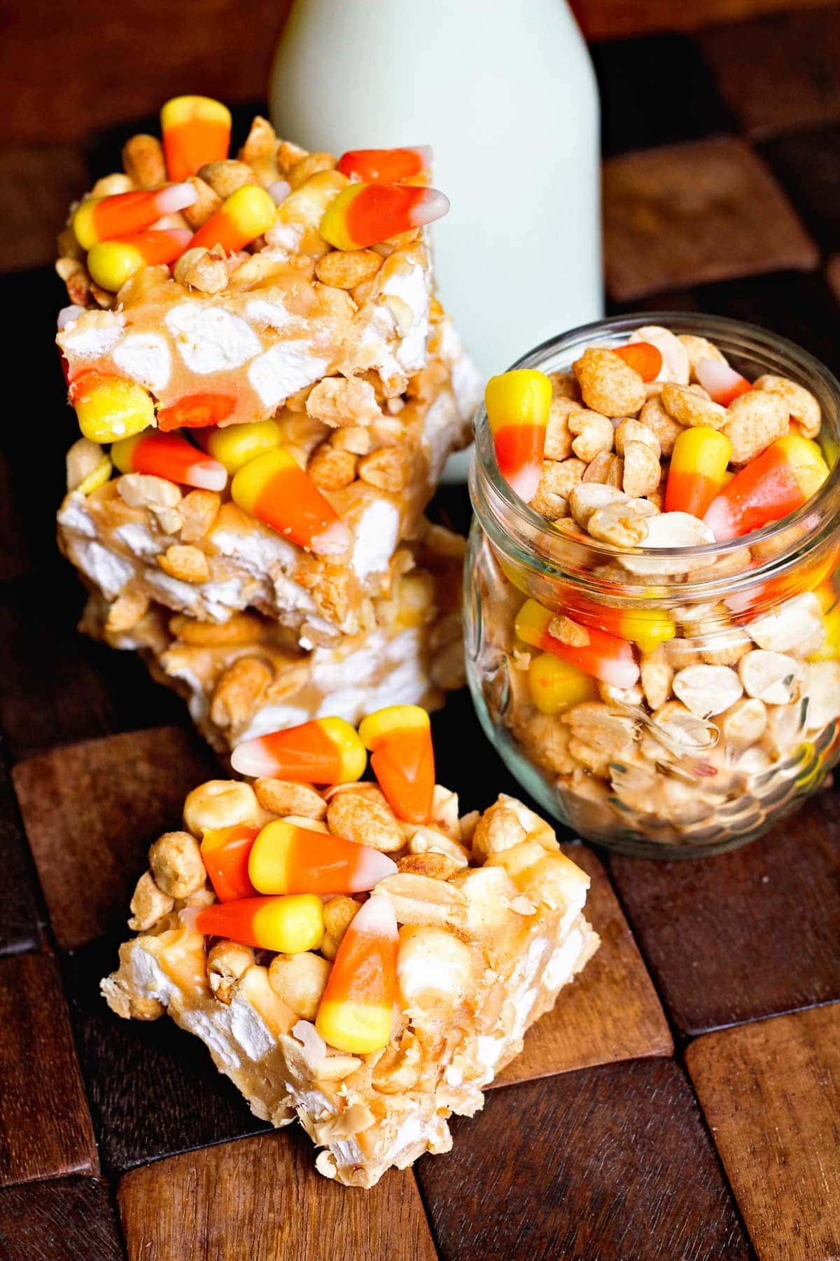 Candy Corn Peanut Bars ~ Loaded with marshmallows, candy corn and peanuts the perfect combo of sweet and salty!