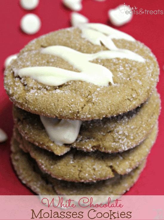 White Chocolate Molasses Cookies ~ Chewy Molasses Cookies, rolled in sugar and topped with white chocolate!