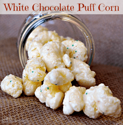 White Chocolate Puff Corn ~ Melt in your mouth puff corn covered in white chocolate! Perfectly sweet and salty!