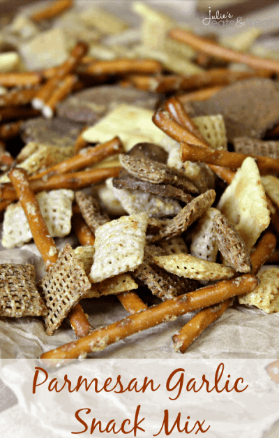 Parmesan Garlic Snack Mix ~ Loaded with Chex, Pretzels, White Cheddar Cheez Its, Rye Chips and topped with Parmesan & Garlic seasoning!