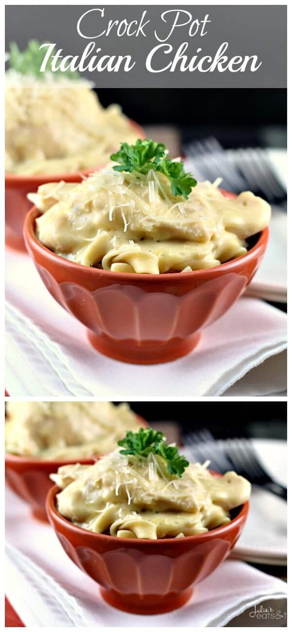 Crock Pot Italian Chicken ~ Super Easy Crock Pot Recipe! Chicken Loaded with Italian Spices and Piled on Pasta!