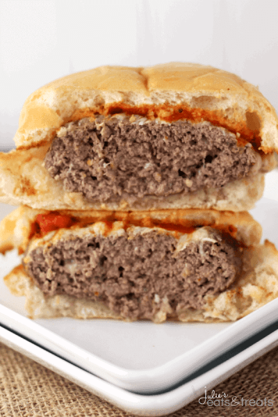 Italian Burger ~ Perfectly Grilled Burger Loaded with Italian Seasonings and topped with Mozzarella and Marinara Sauce!