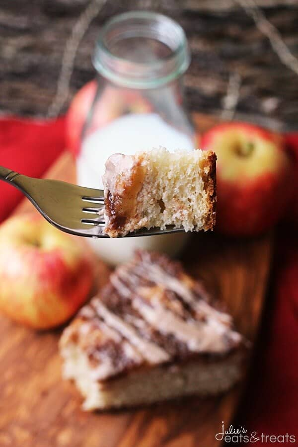 Cinnamon Apple Coffee Cake With Cream Cheese Glaze