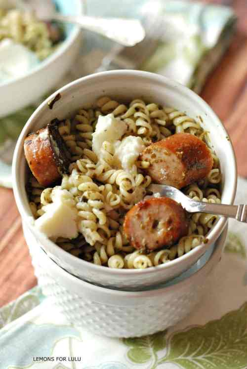 25 delicious date night recipes with 5 ingredients or less pesto pasta with sausage ricotta a simple pasta loaded with pesto chicken sausage forumfinder Images