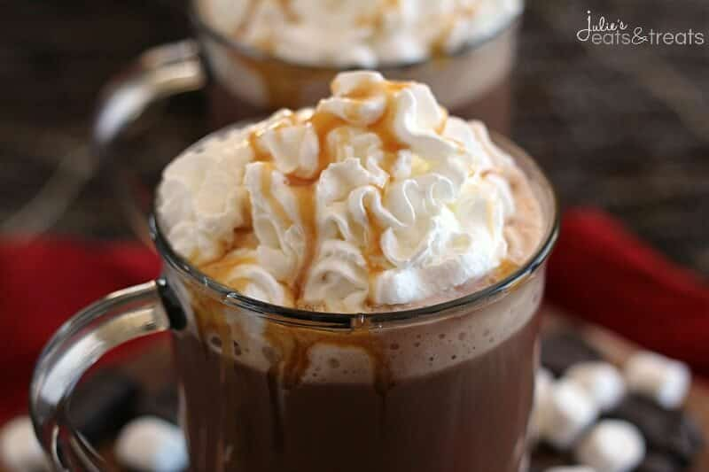 Crock Pot Caramel Hot Chocolate ~ Slow Cooked, Rich, Hot Chocolate Loaded with Caramel and Topped with Whipped Cream and Caramel!