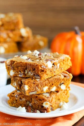 Pumpkin Blondies with White Chocolate and Pecans