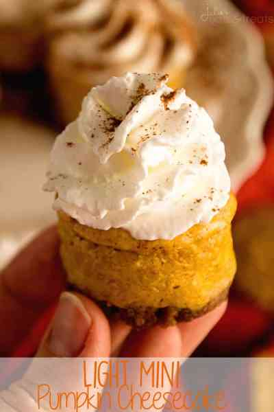 Light Mini Pumpkin Cheesecake Recipe ~ Creamy Pumpkin Cheesecake on top of a Gingersnap Crust! Light, Delicious and Easy!