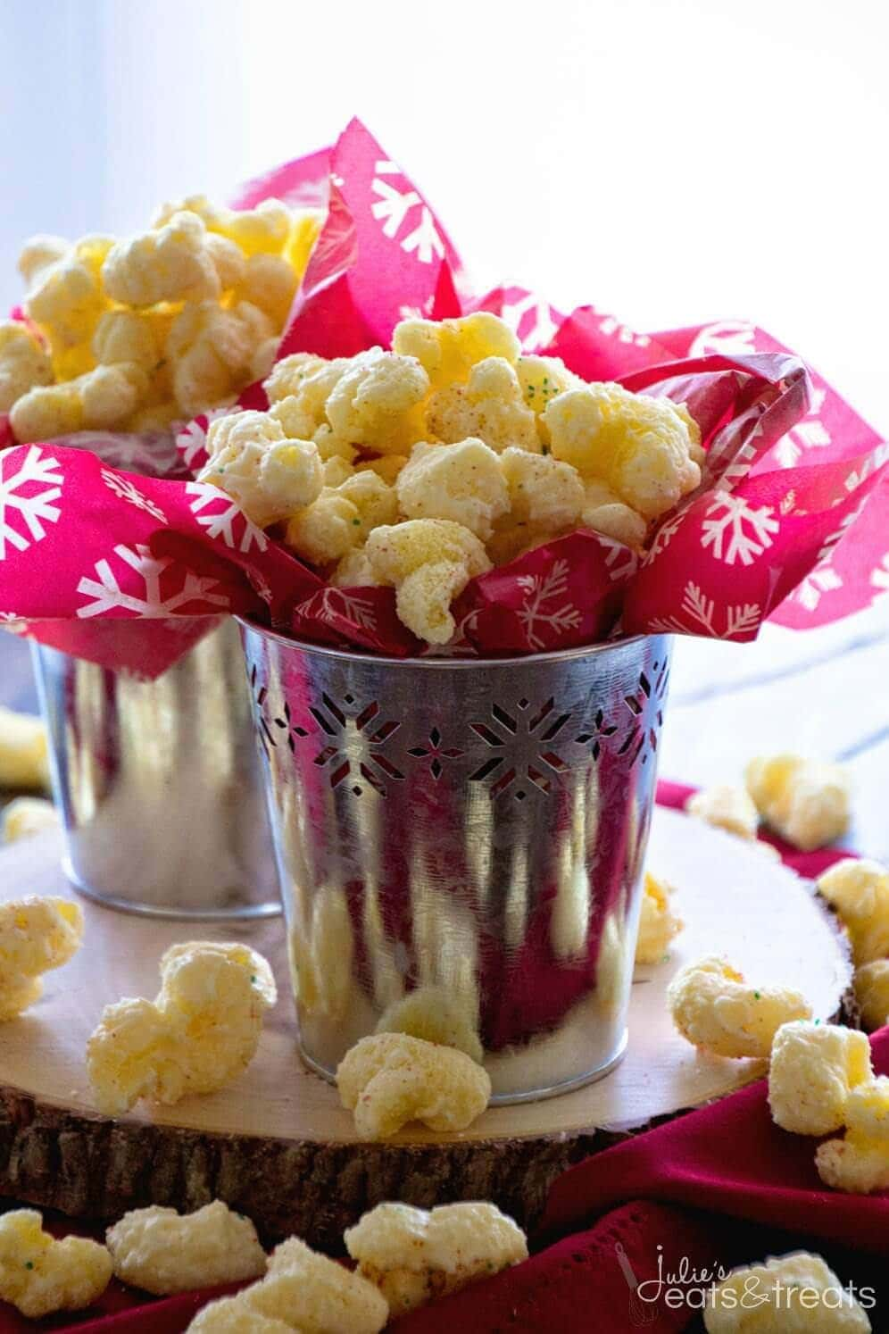 White Chocolate Puff Corn ~ Melt in your mouth puff corn coated in white chocolate! Perfect sweet and salty combo!
