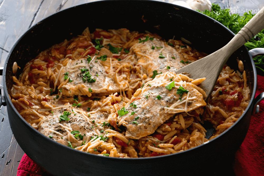 Light Italian One Pot Salmon Amp Orzo Recipe Julies Eats