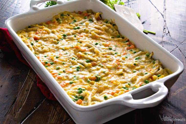 Cheesy Chicken and Noodle Casserole ~ Easy, Hearty and Comforting Casserole Loaded with Chicken, Peas, Carrots, Corn and Egg Noodles! This Will Become a Family Favorite Dinner!