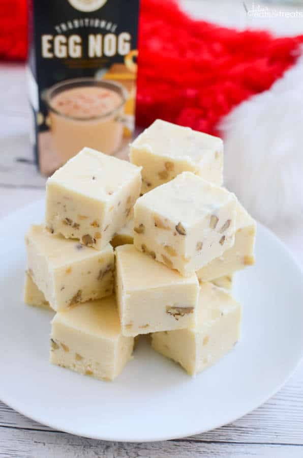 Eggnog Fudge ~ This Quick, Easy and Delicious Fudge Recipe is Loaded with Eggnog and Walnuts! The Perfect Treat for Christmas!