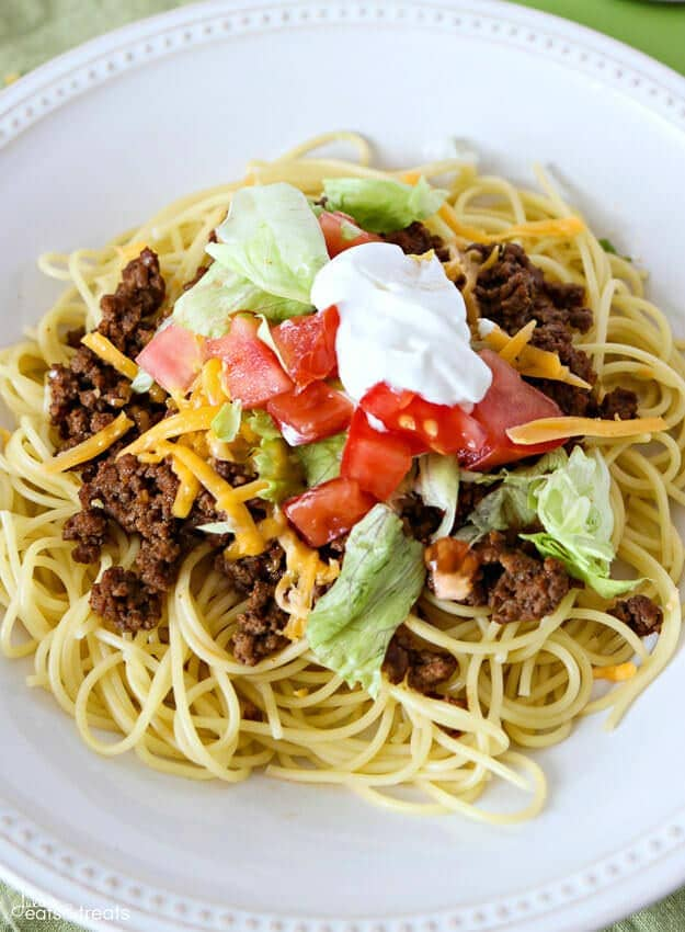 Taco Spaghetti - A fun, new way to enjoy Taco Tuesday! Taco spaghetti is an easy weeknight meal that is perfect for the whole family!