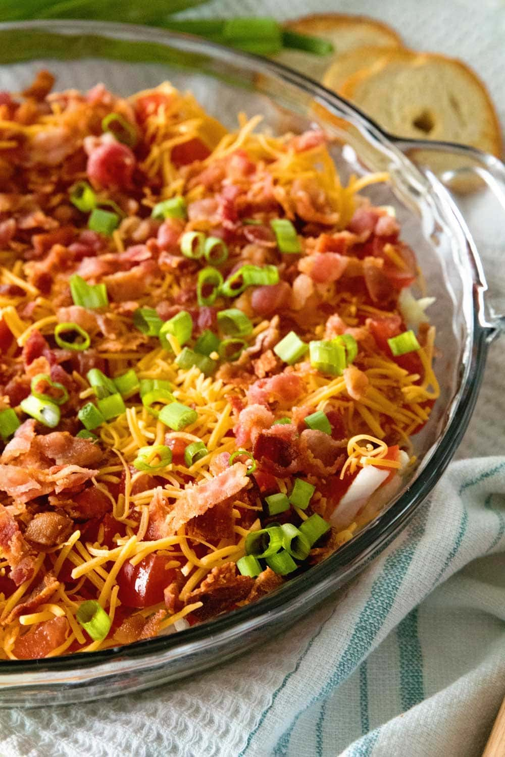 Easy BLT Dip ~ Take Your Favorite Summertime Sandwich and Make it into a Dip! Layers of Lettuce, Bacon, Cheese and Tomatoes! The Perfect Dip for a Party During the Summer Months!