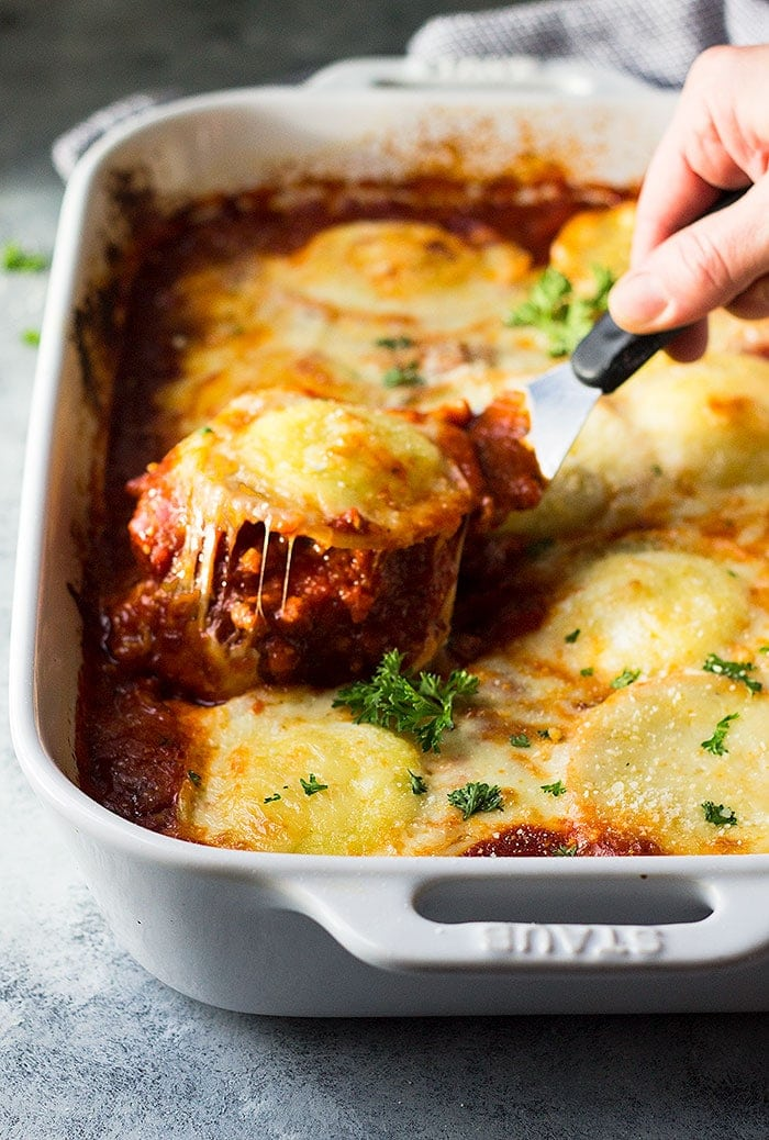 This Three Cheese Ravioli Lasagna is an easy recipe that is hearty, comforting, and filled with cheese!