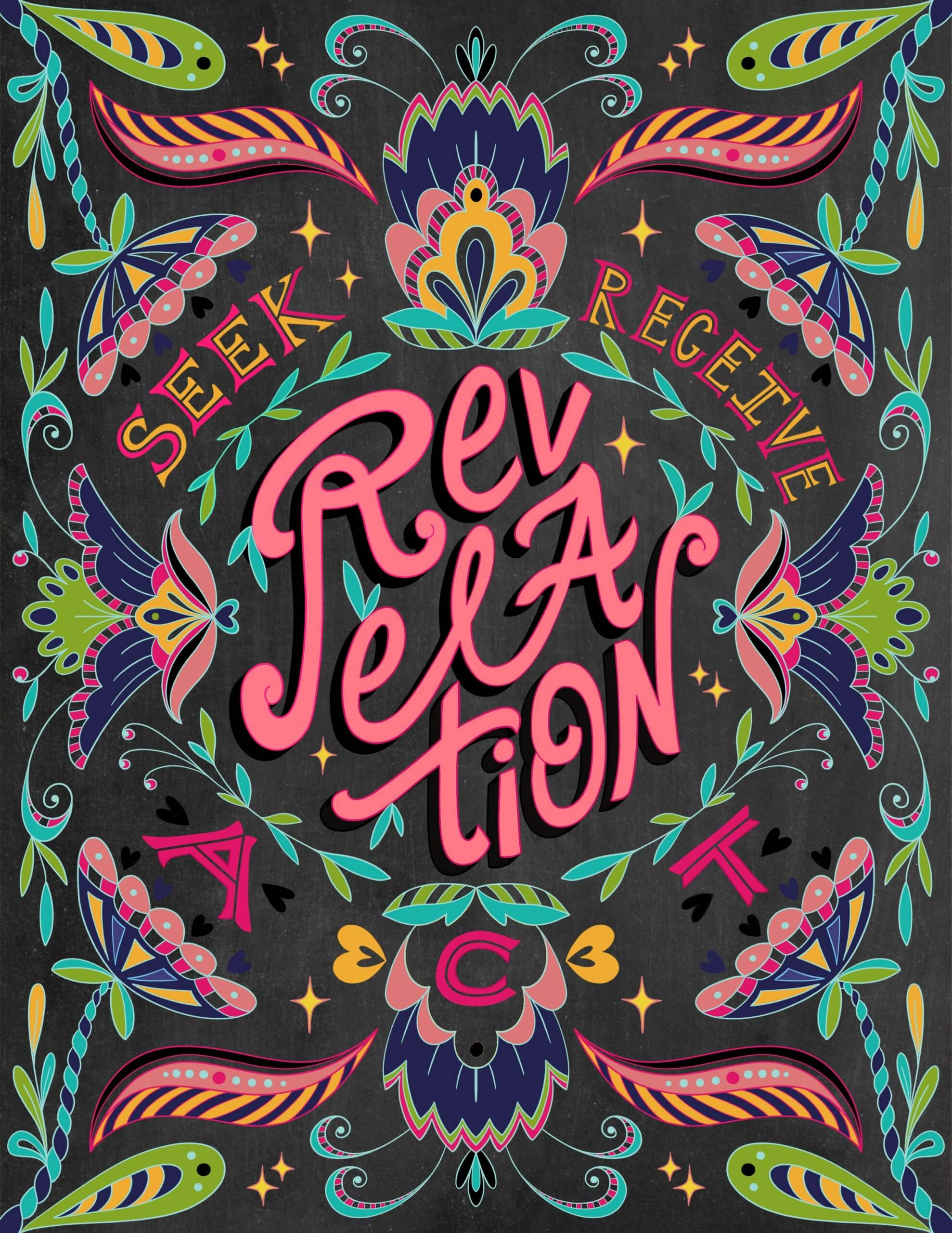 Revelation hand lettering, inspirational lettering, seek, receive, act digital lettering