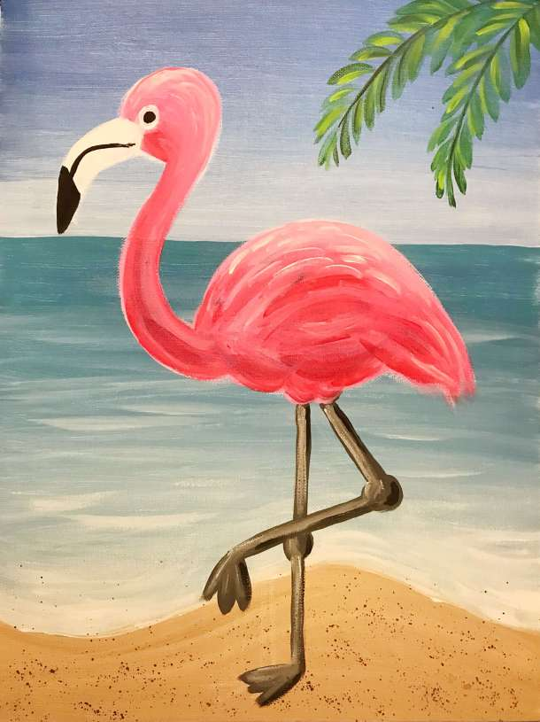 Easy flamingo acrylic painting, kid art, pink flamingo at the beach