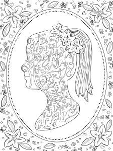 YW theme, beloved daughter coloring page, girl silhouette with flowers