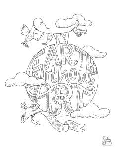 Coloring page, the earth without art is just eh