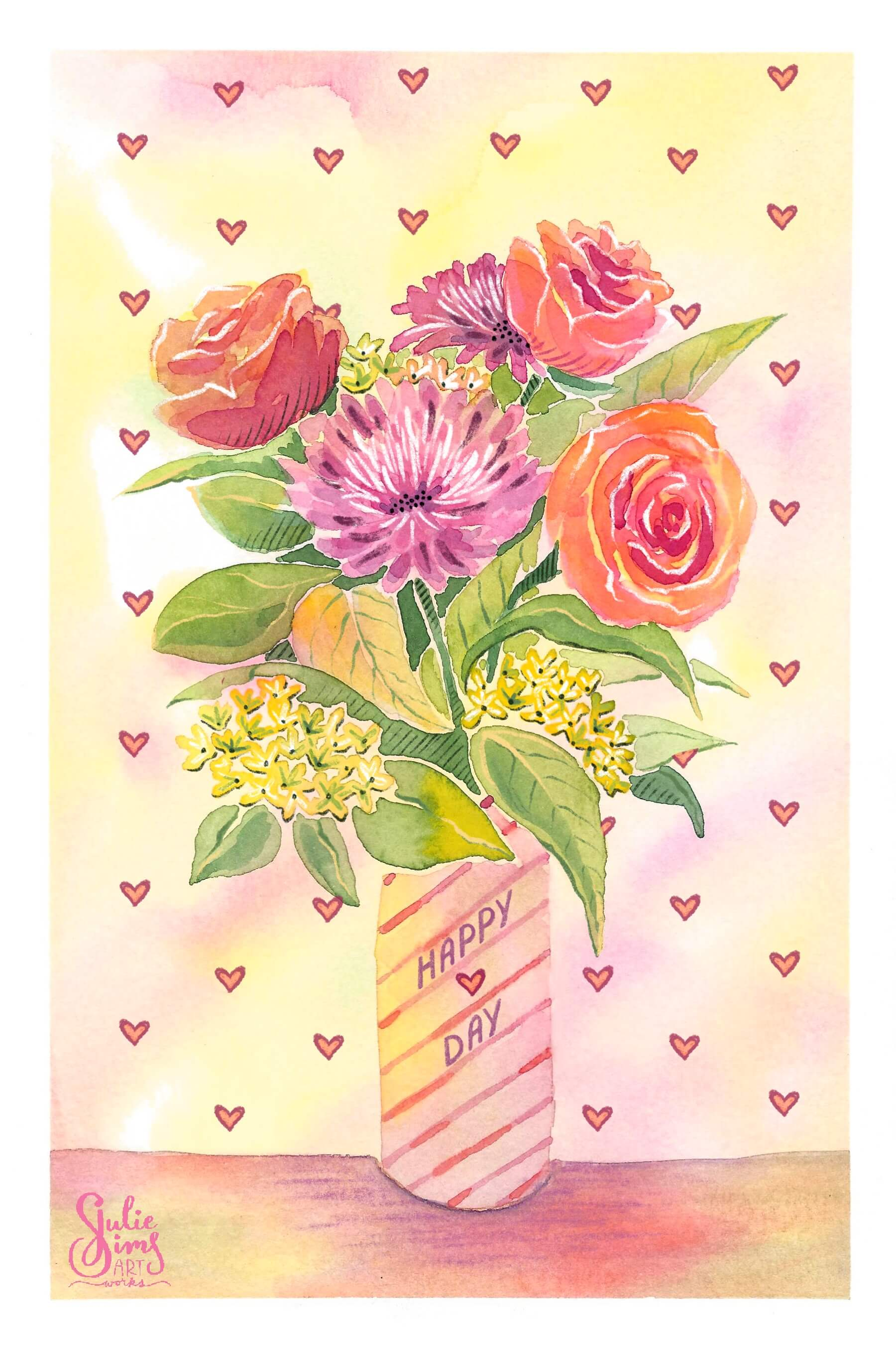 Watercolor flowers, valentines, flower bouquet