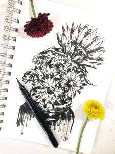 Black ink florals, Pentel pocket brush, black and white