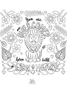Coloring page, lion heart