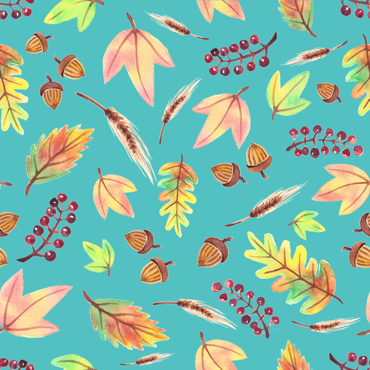 Fall surface pattern with leaves, berries and acorns