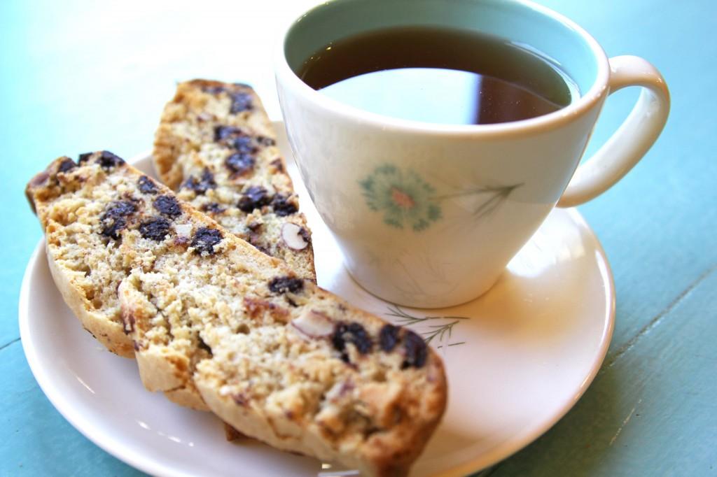 chocolate chip almond biscotti, gluten-free + vegan | Julie's Original