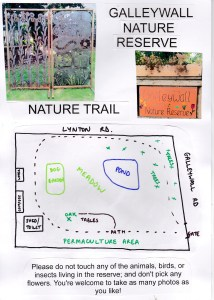 Front page of completed nature trail, with map.