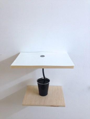 capilaridad #5 madera, vaso de plástico, mecha, clavo, papel y tinta medidas variables 2014