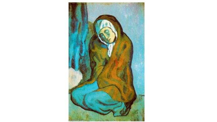 Picasso, La pordiosera arrodillada.