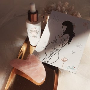 MerMum-To-Be Pregnancy Gift Set: Mermaid Elixir Skin Oil, Rose Quartz Gua Sha + Artwork Magnet